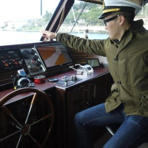 Here's me captaining a large ship down the Bosphorus River in Istanbul.